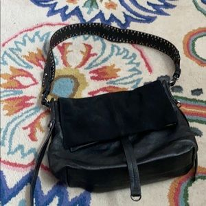 Topshop black leather shoulder bag